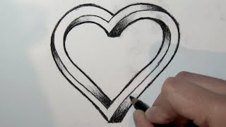 Wie zeichnet man ein 3d Herz mit bleistift- Online Zeichnen Lernen