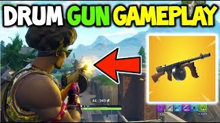 Fortnite *NEW* Drum Gun Gameplay! + Where It Sits in the META + STATS AND RANGE DAMAGE!
