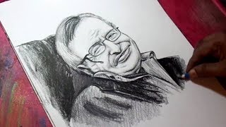 How to Draw Stephen Hawkings Pencil Portrait Detail Drawing
