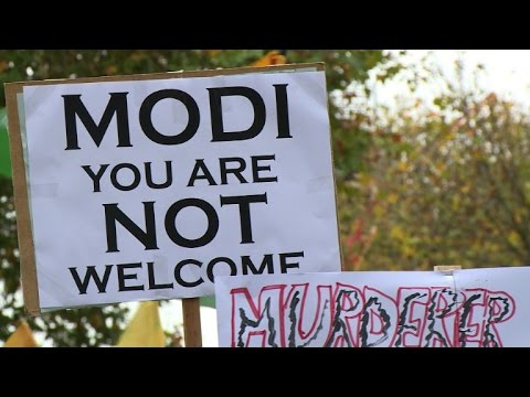 Hundreds protest against Modi visit to UK