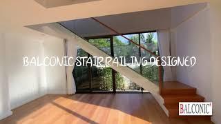 Balconic ตกแต่ง ทำโครงสร้างบันได เหล็กกัลวาไนซ์ ราวบันไดกระจก ระเบียงกระจก ราวกันตก ไม้มะค่า ไม้โอ๊ค