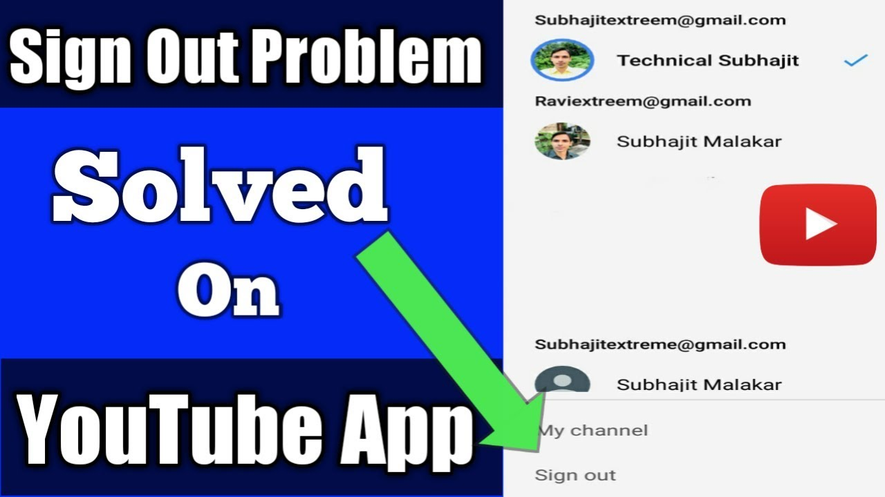 How To Solve Sign Out Problem From YouTube App | YouTube App Sign Out Kaise  kare