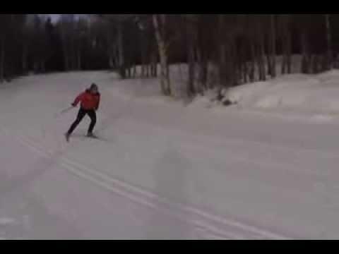 V2 skate skiing technique