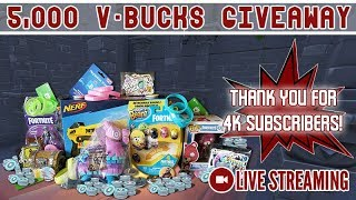 🔴 I'm Giving Away 5,000 V-Bucks! Thanks for 4K Subs!!! [Fortnite] LIVE