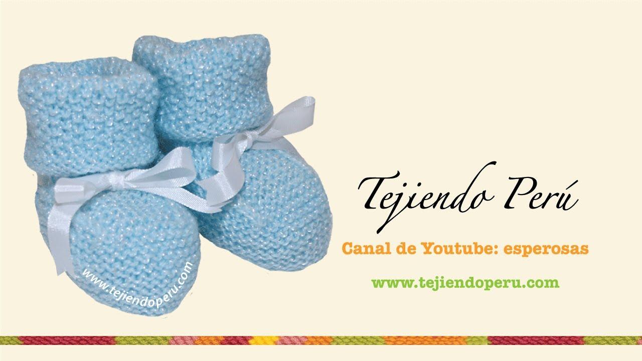 Zapatitos para bebé con doblez tejidos en dos agujas o palitos - YouTube