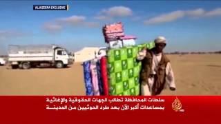 معاناة مئات الأسر اليمنية النازحة من محافظة الجوف