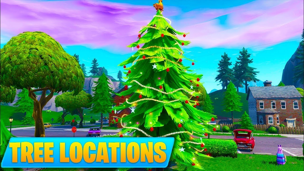 Fortnite Christmas Tree Locations.All Holiday Tree Locations Dance In Front Of Different Holiday Trees 14 Days Of Fortnite Day 9