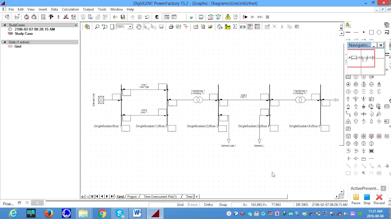 B) shows a model using digsilent powerfactory for the smart grid.
