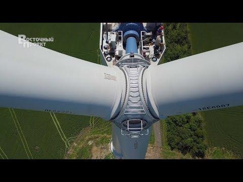 В краматорском ветропарке закончен монтаж лопастей на первой ВЭУ