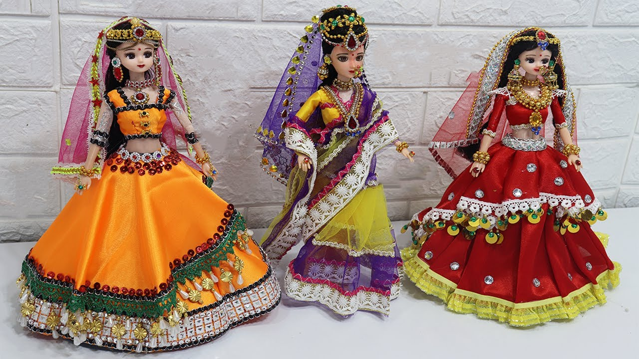 3 South indian bridal dress and Jewellery | 3 Doll decortion ideas |19