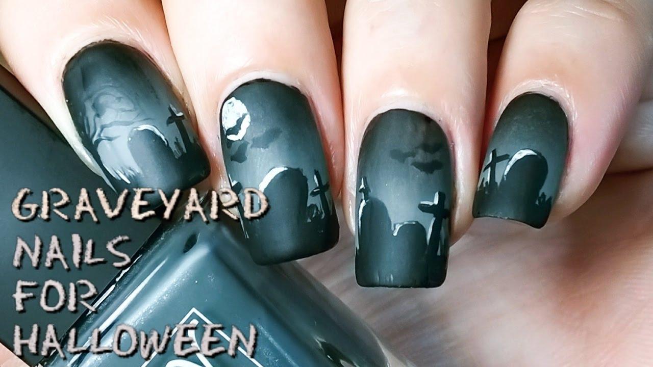 Halloween Graveyard nail art (Freehand)    Nails By Matin ...