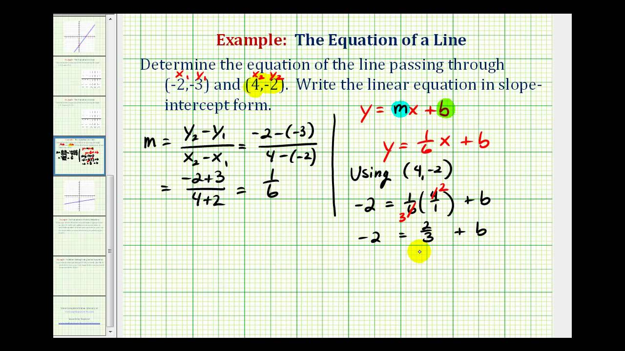 Ex 2 Find The Equation Of A Line In Slope Intercept Form Given Two