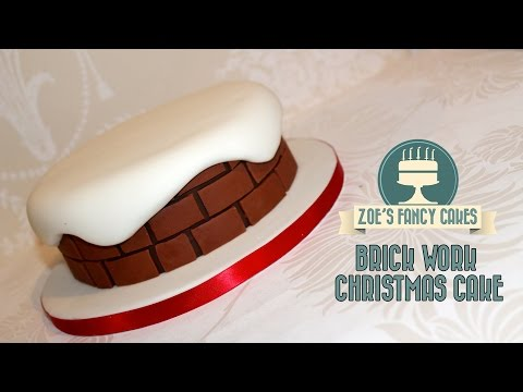 Christmas cake ideas for cake decorating chimney brick work snow scene How To Tutorial