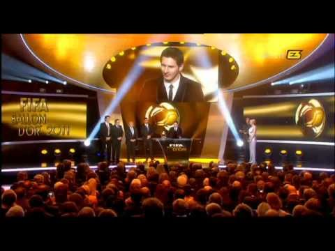 Messi receives the Fifa Ballon d'Or 2011 Award