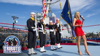 Lillian Garcia delivers a rousing rendition of the U.S. National Anthem at WWE Tribute to the Troops
