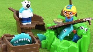 상어에게 잡히기 전에 금화를 들고 탈출해라~ 상어 아일랜드 탈출 게임~ ❤ 뽀로로 장난감 애니 ❤ Pororo Toy Video | 토이컴 Toycom
