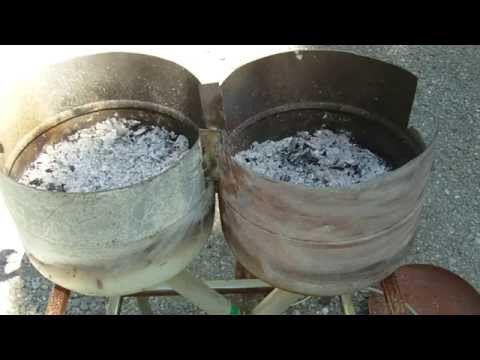 Homemade Forge built from old propane tanks. Burn Wood or Coal