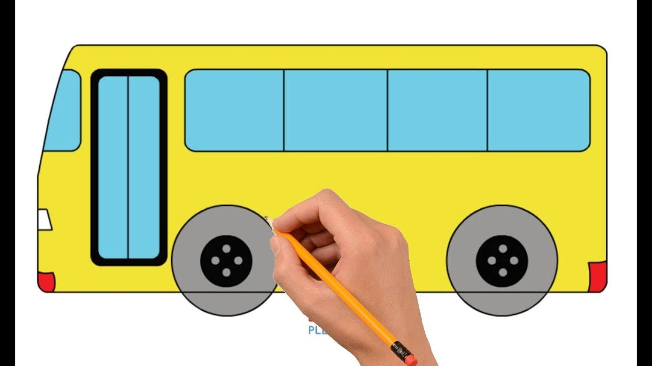 How To Draw A Bus Step By Step Easy For Kids Coloring Book Page