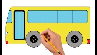 How to Draw a Bus Step by Step Easy For Kids | Coloring Book Page and Drawing Learn Colors For Kids