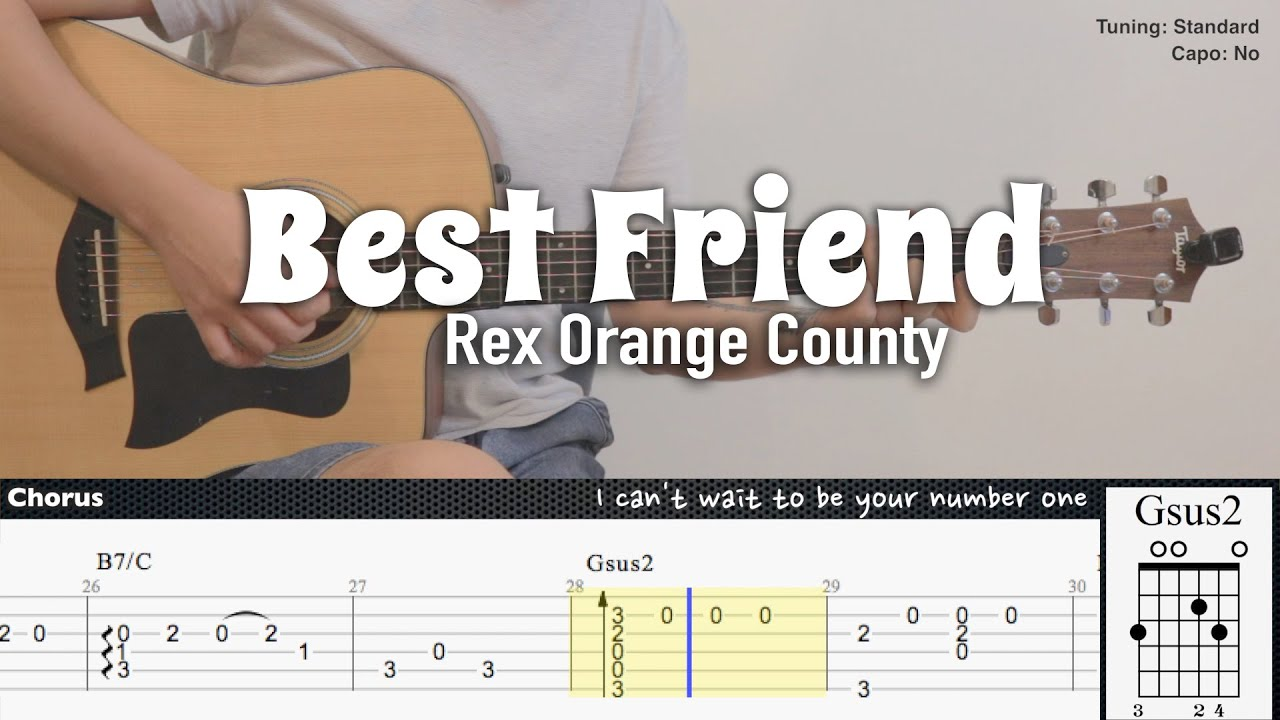 Best Friend - Rex Orange County | Fingerstyle Guitar | TAB + Chords + Lyrics