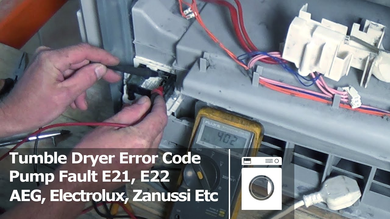 tumble dryer error code pump fault e21 e22 aeg electrolux zanussi etc youtube. Black Bedroom Furniture Sets. Home Design Ideas