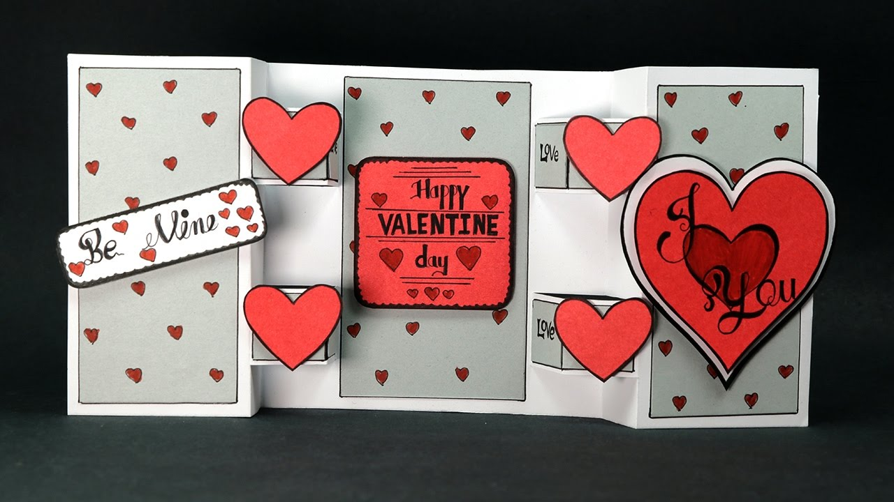 Diy Valentine Card Heart Pop Up Standing Card Youtube