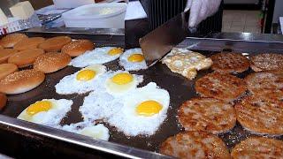 fried egg cheeseburger  korean street food