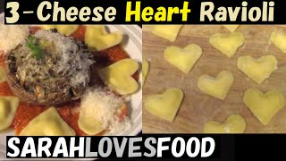 Heart-Shaped 3-Cheese Ravioli | Romantic Dinner at Home for Valentine's Day