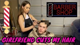 MY GIRLFRIEND GIVES ME A HAIRCUT CHALLENGE!!!!!