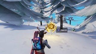 Fortnite Battle Royale - Search between three Ski Lodges Location (Season 7 Challenges)