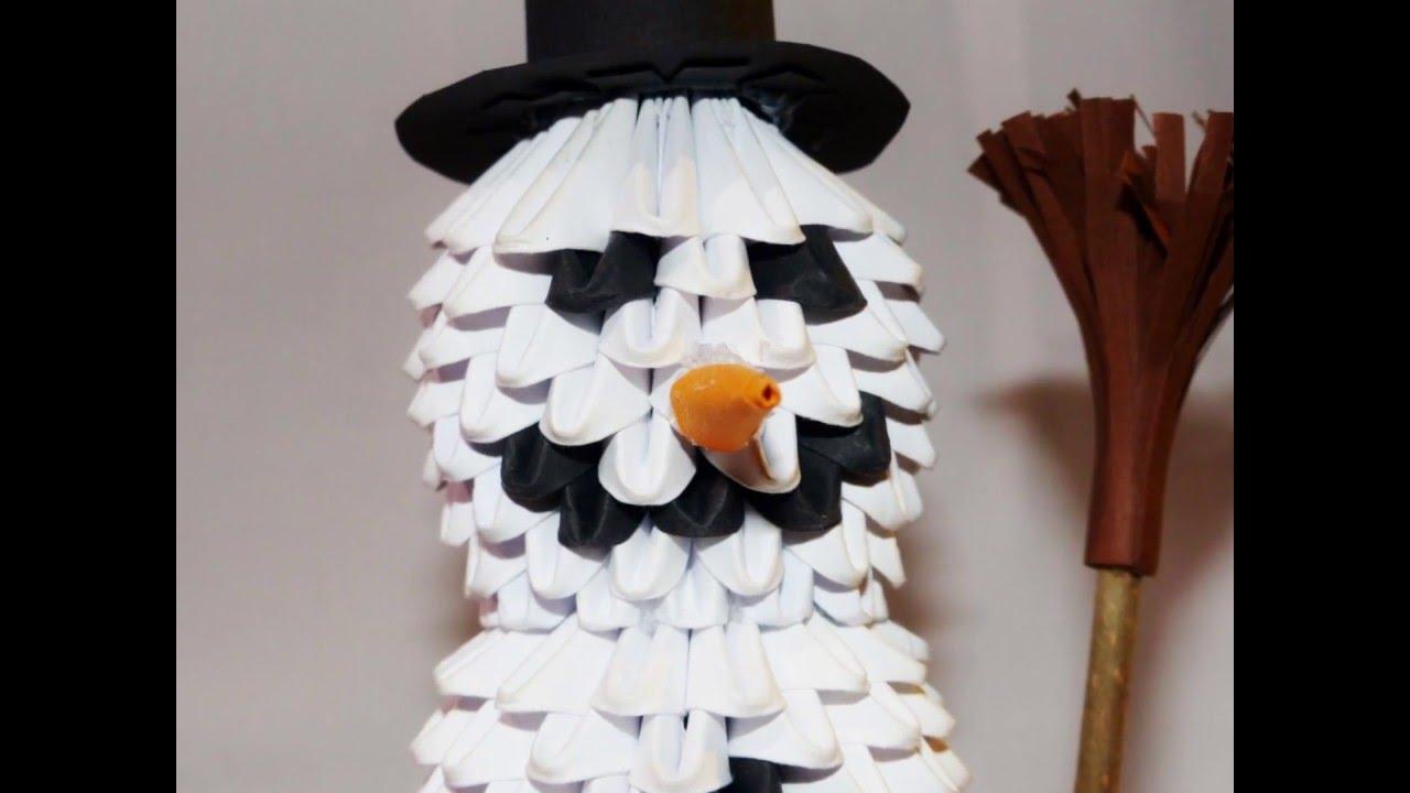 3d Origami Snowman  3d Origami Schneemann  Youtube