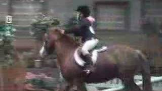 little rider falls of horse but fights to stay on