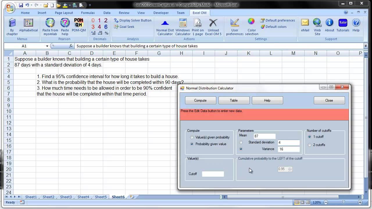 Excel om qm tutorials the normal distribution calculator for Windows distribution