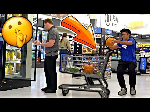 Sneaking Pumpkins into People's CARTS! (C0PS CALLED)