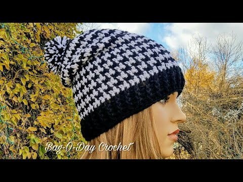 HOW TO CROCHET – SLOUCHY HAT   UNISEX HOUNDSTOOTH BEANIE   BAGODAY CROCHET Tutorial #438