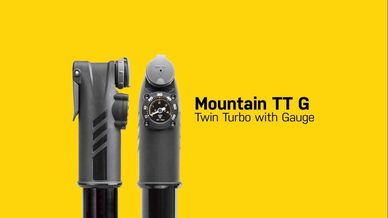 TOPEAK Mountain TT G Twin Turbo Handpump Gauge 60psi Dunlop//Presta//Schrader NEW