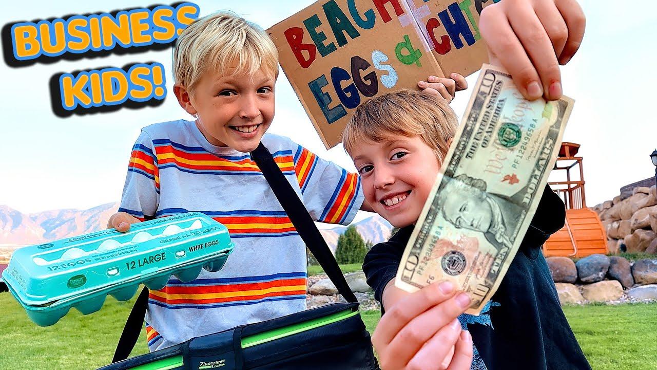 James and Corbin Start a Business! Beach Boys Eggs and Chicks!
