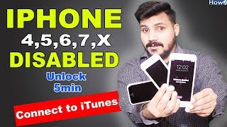 iPhone Disabled Connect to itunes | Unlock All Disabled iPhone 5,6,7 Plus | Restore Iphone Passwprd