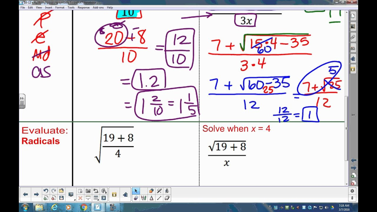 8th Grade Unit 5 Simplify Expression Using Grouping Symbols Parenthesis Fraction Bar Radicals