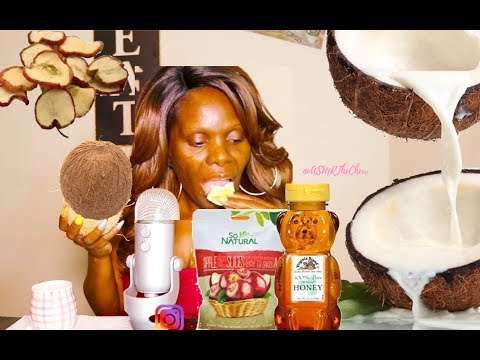 Coconut ASMR Eating Sounds Tap | APPLE CHIP Snack