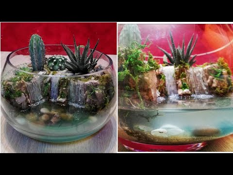DIY Amazing Waterfalls Terrarium with cactus and realistic water