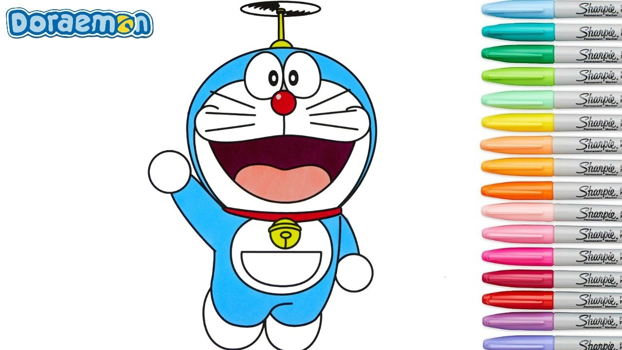 Doraemon Coloring Book Pages Episode 1 Rainbow Splash