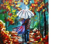 How To Paint A Couple In The Rain Lovers Walk A Rainy Day Encounter  Home Painting Party Diy