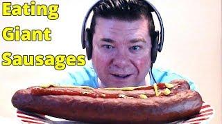 ASMR MUKBANG Eating Giant Sausages And Drinking Ice Cold Pepsi