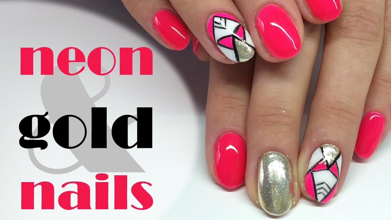 Neon Pink Gold Nails Metal Manix My Wonderland Youtube