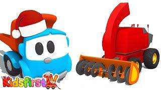 Leo the Cartoon Truck - SNOWPLOW! - Children's Toy Trucks Construction Cartoons