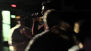 Lead singer of The Script walking through crowd