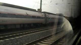 Three Amtrak train meet at Metropark with conductor announcement