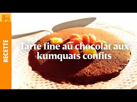 Tarte fine au chocolat aux kumquats confits