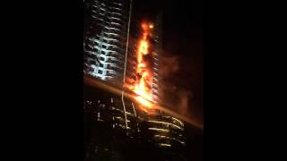 The start of the fire at the Address Hotel Downtown Dubai during New Year's Eve
